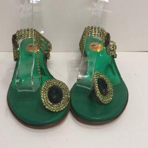 Francesco Sacco Made in Italy Green MidHeel Sandal